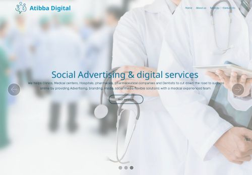 لقطة شاشة لموقع شركة الاطباء ( أطبا ديجيتال) لحلول السوشيال ميديا و الاعلان بتاريخ 01/03/2021 بواسطة دليل مواقع الدليل